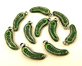 jeweler pickle - Set of Ten (10) Green Enameled Pewter Pickle/Cucumber Charms