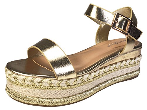 BAMBOO Women's Single Band Espadrilles Platform Sandal with Quarter Strap, Gold, 10.0 B (M) US