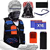 Tactical Vest Kit for Nerf Guns N-Strike Elite Series with Tactical Vest,Refill Darts,Mask,Two Clips,Protective Glasses for Kids