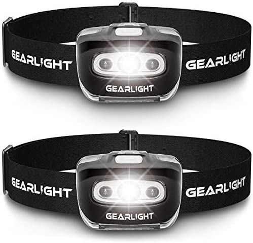GearLight LED Headlamp Flashlight S500 [2 Pack] – Running, Camping, and Outdoor Headlight Headlamps – Head Lamp with Red Safety Light for Adults and Kids
