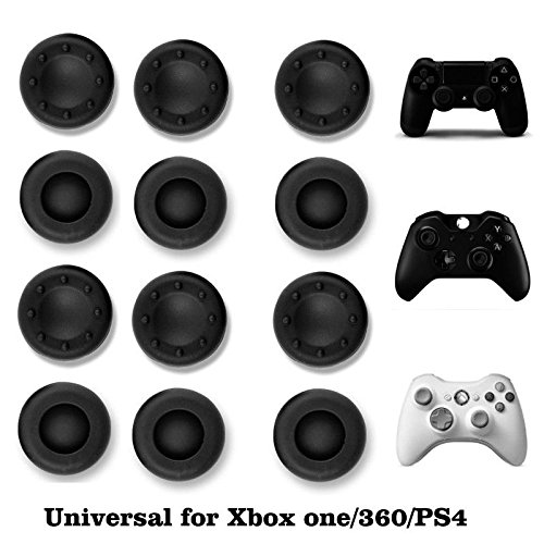 VizGiz 12 Pack Universal Thumbstick Grips PS4 Thumb Grip Analog Stick Covers JoyStick Controller Cap Silicone Precision Rubber for PS4 XBOX ONE XBOX 360 PS3 PS2 Pro Slim Lite Dualshock WII U Black (Ps2 Game New)