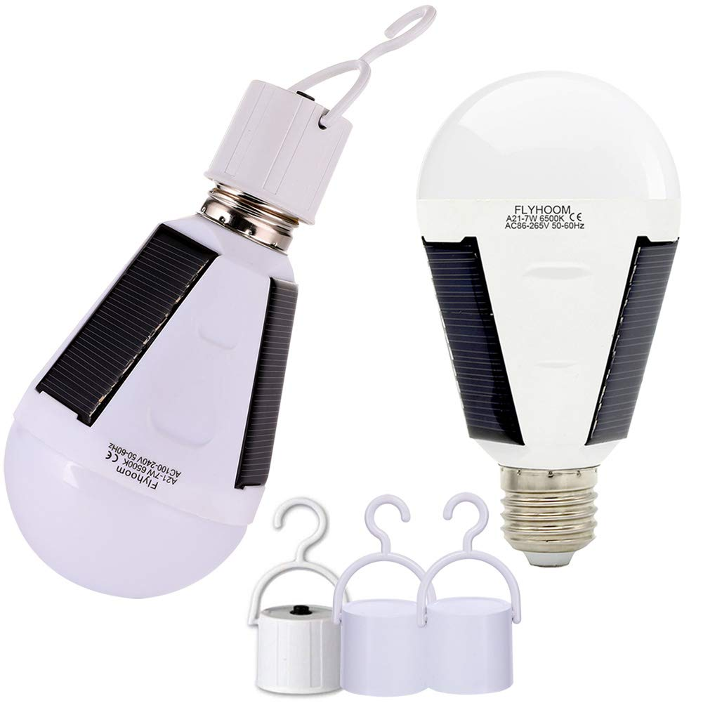 Flyhoom 2 Pack Portable Solar Bulb Light Outdoor Rechargeable Emergency Light Bulb for Power Outage Shed Barn, Camping Tent Light Bulb (AC 400LM/ DC 130LM) by Flyhoom