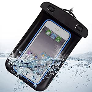 SumacLife Waterproof Pouch Diving Bag Case for Apple iphone 5s / iphone 5 / iphone 5c / ipod touch 5 (Blue and Black)
