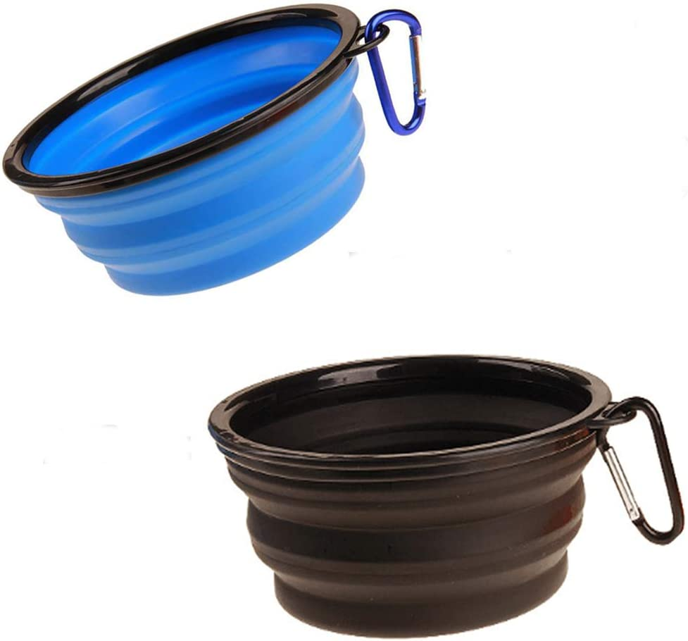 2-Pack Large Size Portable Collapsible Pet Silicone Dog Bowl,Food Grade Silicone BPA Free and Dishwasher Safe,Matched Carabiner Clips Dog/Cat Bowl, for Journeys/Hiking/Kennels and small