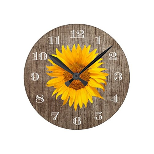 Wall Clocks Decorative for Living Room Country Sunflower Rustic Barn Wood Vintage Non-ticking Wood Quartz Wall Clock 12 Inch