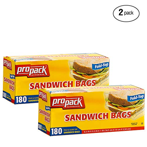 ProPack Disposable Plastic Sandwich Bags with Fold Close Top 360 Bags, Great for Home, Office, Vacation, Traveling, Sandwich, Fruits, Nuts, Cake, Cookies, Or Any Snacks (2 Packs)