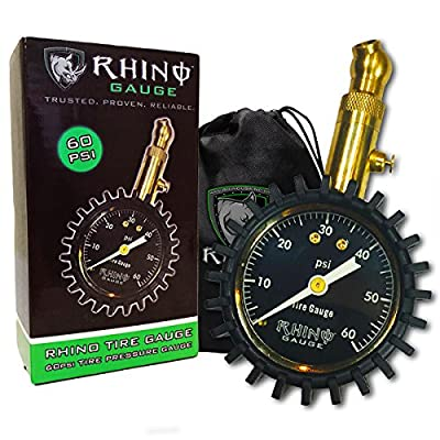 """Rhino USA Heavy Duty Tire Pressure Gauge - Certified ANSI B40.1 Accurate, Large 2"""" Easy Read Glow Dial, Premium Braided Hose, Solid Brass Hardware, Best For Any Car, Truck, Motorcycle, RV by Rhino USA"""