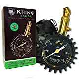 "Automotive : RHINO USA Heavy Duty Tire Pressure Gauge (0-60 PSI) - Certified ANSI B40.1 Accurate, Large 2"" Easy Read Glow Dial, Premium Braided Hose, Solid Brass Hardware, Best For Any Car, Truck, Motorcycle, RV"