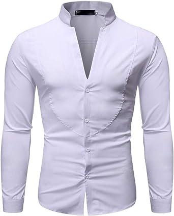 Hombre Camisa Elegante Moda Slim Fit Camicia Bluse Top Hombres V-Cuello Un Solo Pecho Color Sólido Camisa Casuales: Amazon.es: Ropa y accesorios