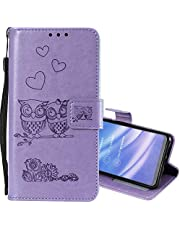 EnjoyCase Wallet Case for Galaxy Note 10 Plus,Cut Funny Embossed Flower Owl Premium PU Leather Wrist Strap Magnetic Closure Bookstyle Protective Flip Cover for Samsung Galaxy Note 10 Plus