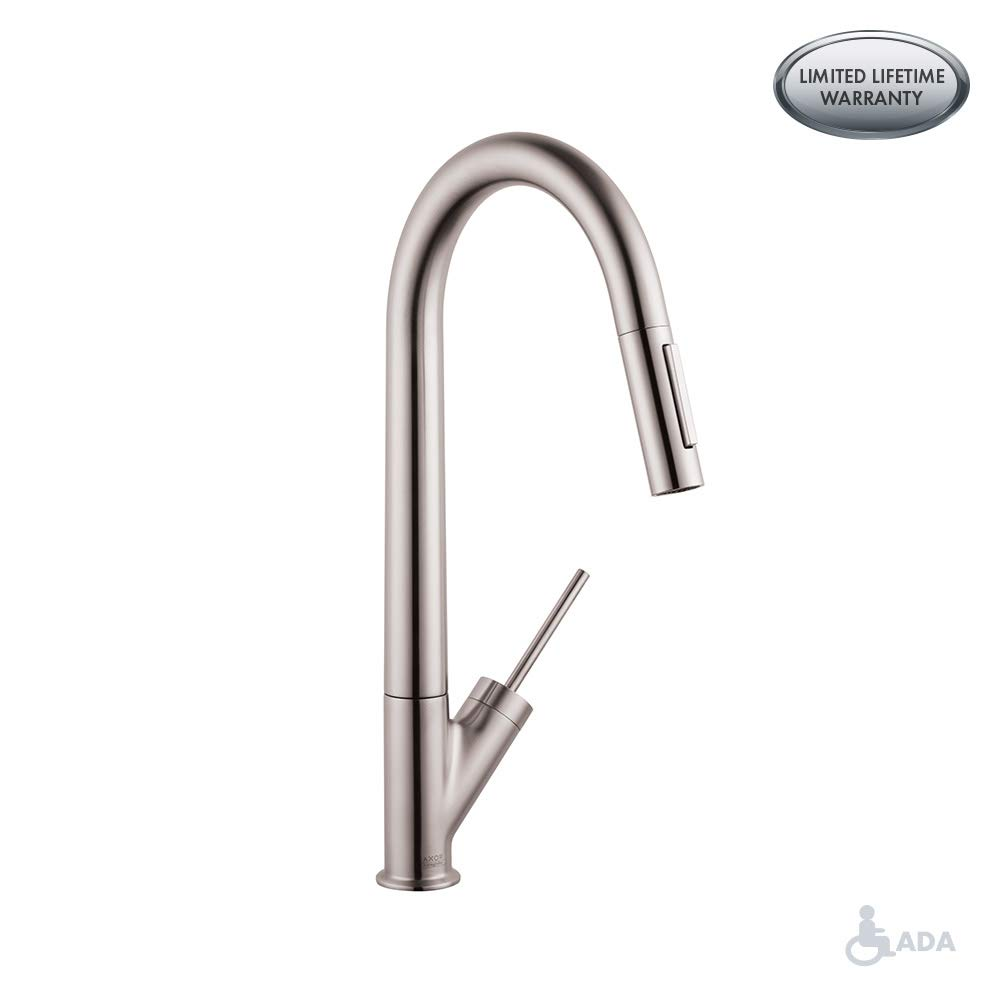 Hansgrohe 10821801 Starck Pull-Down Kitchen Faucet with High-Arc Spout Medium Steel Optic