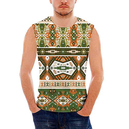 Mens Sleeveless Tribal T- Shirt,Vector Design with Tattoo Aztec Mayan Culture ()