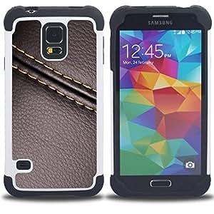For Samsung Galaxy S5 I9600 G9009 G9008V - stitch leather brown texture Dual Layer caso de Shell HUELGA Impacto pata de cabra con im??genes gr??ficas Steam - Funny Shop -