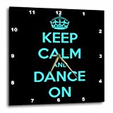 3dRose dpp_163926_3 Keep Calm and Dance On, Black and Turquoise Wall Clock, 15 by 15-Inch