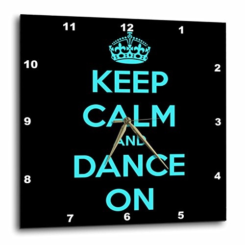 3dRose dpp_163926_3 Keep Calm and Dance On, Black and Turquoise Wall Clock, 15 by 15-Inch by 3dRose