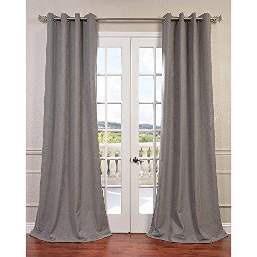 HPD Half Price Drapes FHLCH-VET13194-108GR Grommet Heavy Faux Linen Curtain, 50 X 108, Pewter Grey