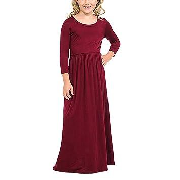 ac058c4220515 女の子 ワンピース Timsa 子供ドレス 女の子 キッズ ロングスカート 可愛い Aライン 長袖 洋服 無地 女児