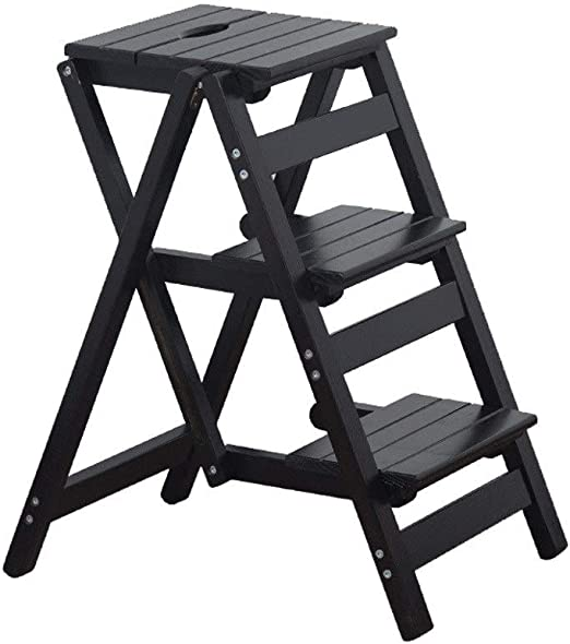 Amazon Com Folding Steps Folding Bar Stools With Step Stool In Wood 3 Stage Tread Stool For Home Kitchen Bar Restaurant Cafe Living Room Chair Color B Home Kitchen