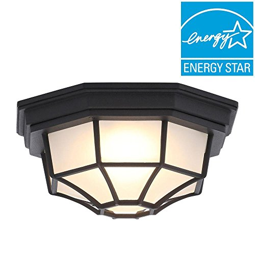 Hampton Bay Exterior Ceiling Light LED Black