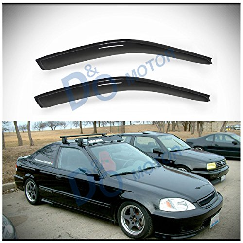D&O MOTOR 2pcs Front Smoke Sun/Rain Guard Outside Mount Tape-On Window Visors For 96-00 Honda Civic 2-Door Coupe/3-Door Hatchback
