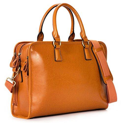 (Kattee Women's Leather Briefcase Satchel Handbag 14