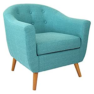Lumisource Rockwell Mid Century Modern Accent Counter Chair, Teal