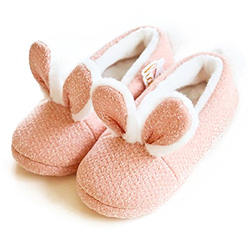 HALLUCI Women's Cozy Fleece Memory Foam House Trick Treat Halloween Slippers (5-6 M US, Bunny Ear) -