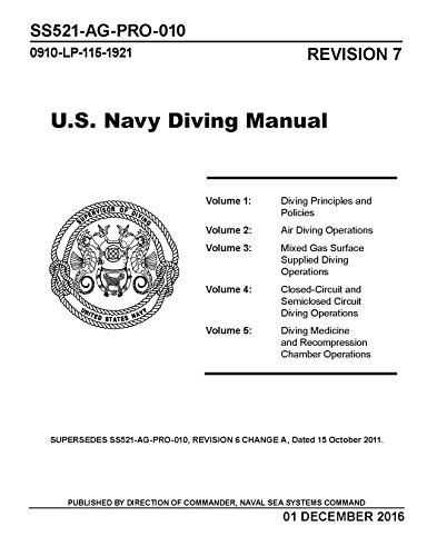 SS521-AG-PRO-010 US DIVING MANUAL REVISION 7 Volumes 1-5 Complete [BLACK AND WHITE EDITION Loose (Us Navy Diving Manual)