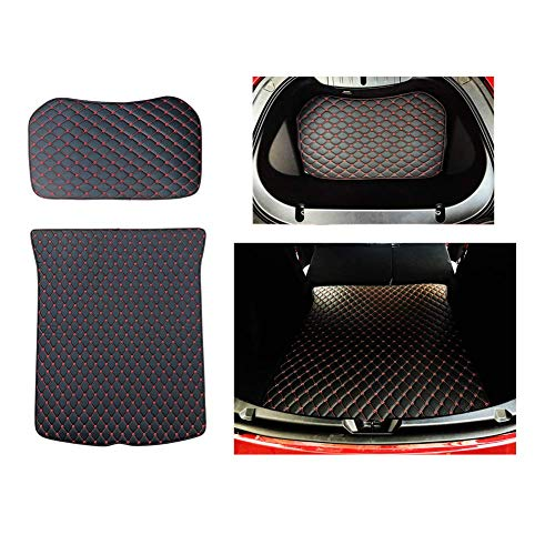 (Car Trunk Mat Waterproof PU Leather Car Trunk Cover Protectors Compatible Tesla Model 3 (Front and Rear Trunk Mat) (Red))