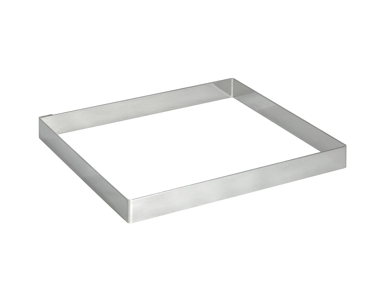 De Buyer Juego de moldes cuadrados para tartas acero inoxidable, 2 cm de altura