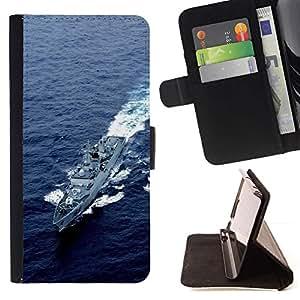 For Samsung Galaxy S6 Case , Destructor Ejército Naturaleza EE.UU. Armada- la tarjeta de Crédito Slots PU Funda de cuero Monedero caso cubierta de piel