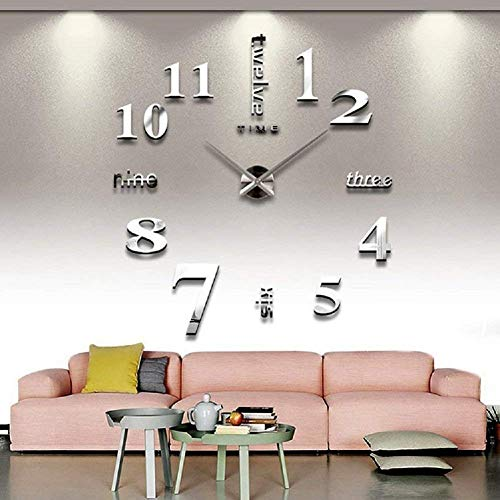 3D Frameless Wall Clock Stickers DIY Wall Decoration for Living Room Bedroom ()