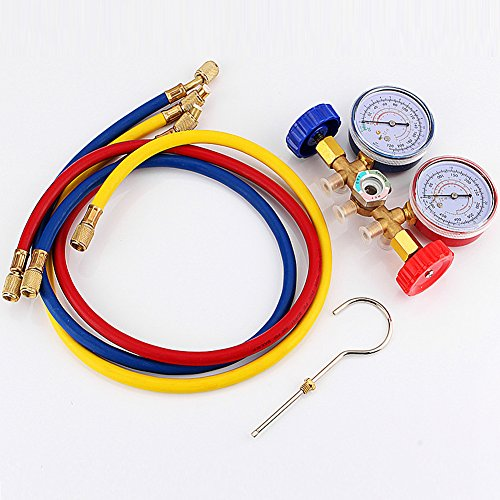 CSLU Refrigeration Air Conditioning AC Diagnostic Manifold Gauge Tool Set sn For All Car A/C With Hose and Hook Kit R22 R12 R502 A/C