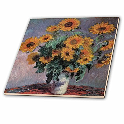 3dRose ct_126498_1 Sunflowers by Claude Monet Impressionist Still Life Ceramic Tile, 4-Inch by 3dRose