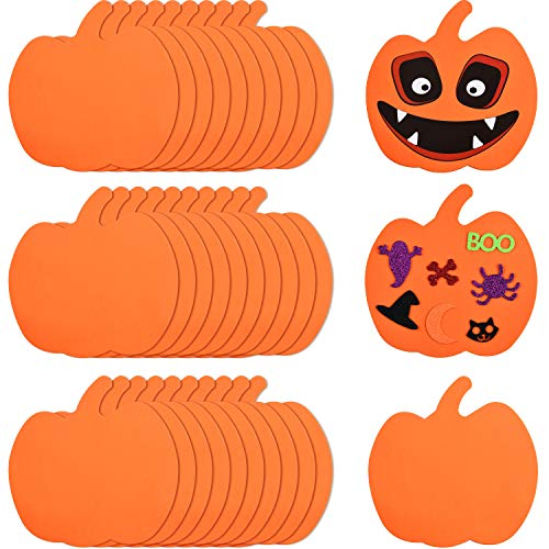 Outus 30 Pieces Foam Halloween Pumpkins Foam Pumpkin Shapes Halloween Craft Kit for Halloween Kids Craft Party Decorations