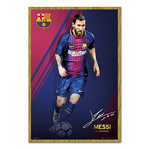 Barcelona Messi 2017 / 2018 Action Poster Magnetic Notice Board Oak Framed - 96.5 x 66 cms (Approx 38 x 26 inches) for sale