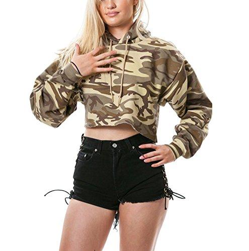 (Moxeay Hoodie Sport Crop Top Sweatshirt Jumper Pullover Tops (M, Camouflage 1))