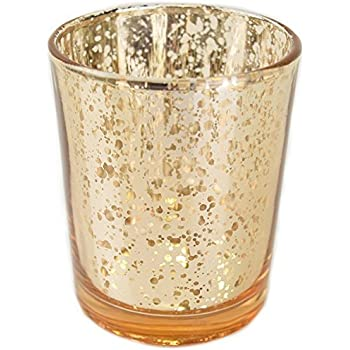 "Just Artifacts Mercury Glass Votive Candle Holder 2.75"" H (12pcs, Speckled Gold) -Mercury Glass Votive Tealight Candle Holders for Weddings, Parties and Home Decor"