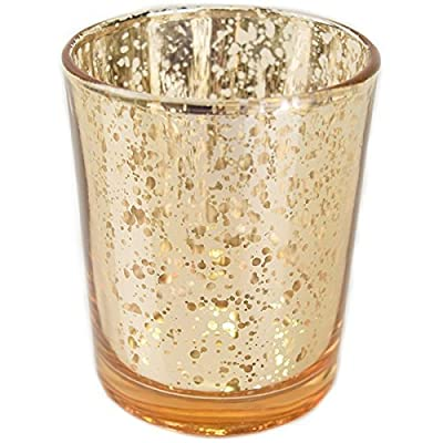 "Just Artifacts Mercury Glass Votive Candle Holder 2.75"" H (12pcs, Speckled Gold) -Mercury Glass Votive Tealight Candle Holders for Weddings, Parties and Home Decor - SPECKLED GOLD MERCURY GLASS VOTIVE CANDLE HOLDERS: The perfect touch to add glow and elegance to your event and home décor. SET OF 12: Each votive is embellished with an antique speckled metallic finish. SAFETY: For safety precautions we recommend the votives to be used with an LED tea light. However, regular tea light candles may be used. - living-room-decor, living-room, home-decor - 51YbOF561rL. SS400  -"
