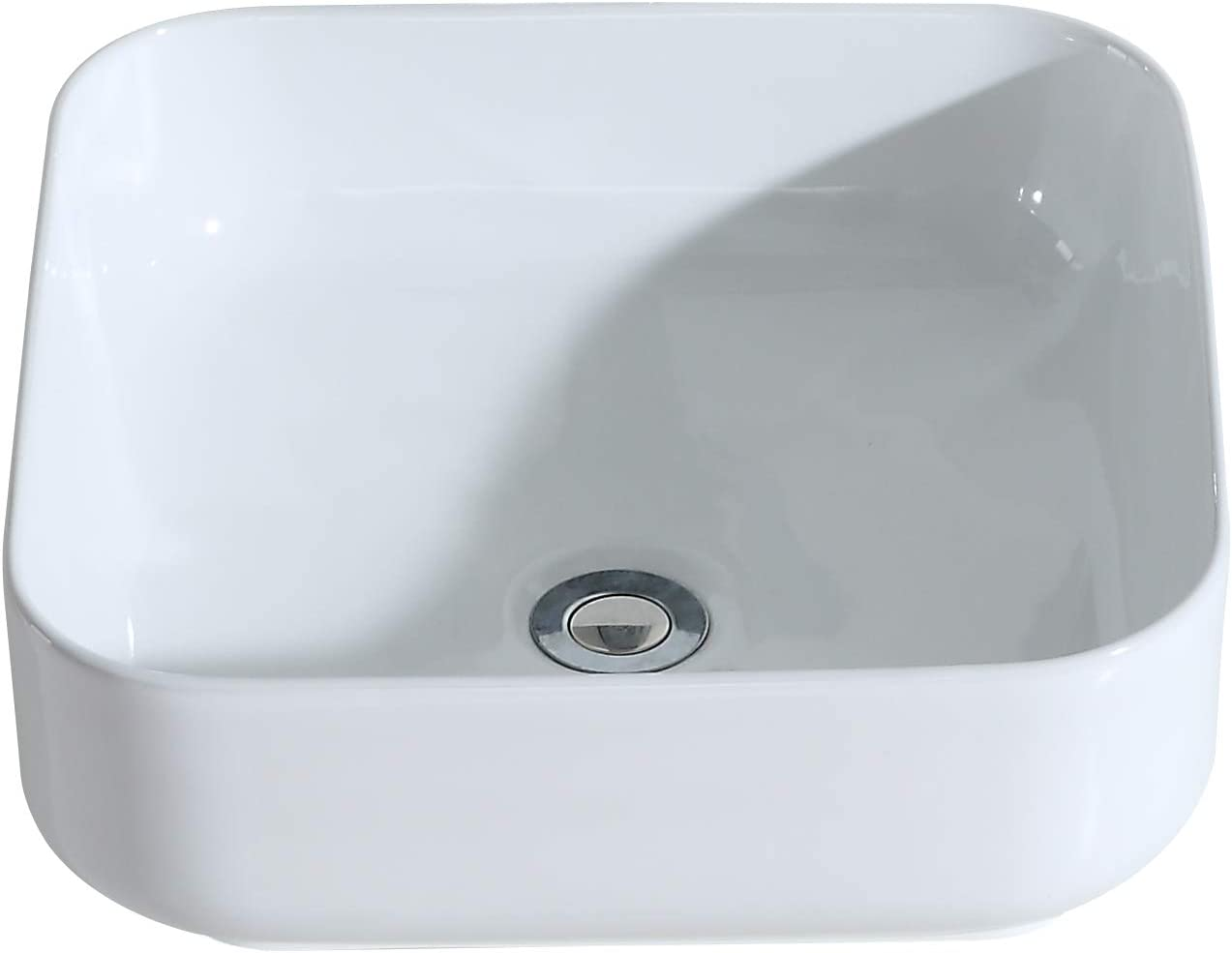 Eridanus Ceramic Vessel Sink, [Series Juno], Wash Basin Sink with [Smooth Finish] Countertop Mounted [Easy Installation] for Lavatory Vanity Cabinet, 40 X 40 X 14CM