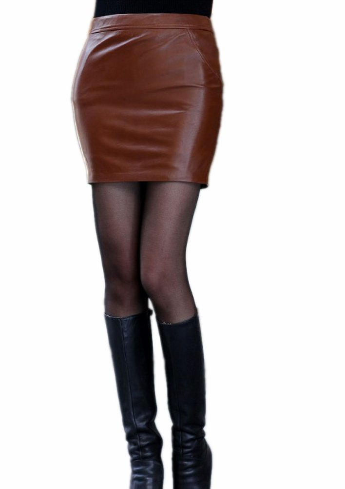 Queenshiny Women's Real Sheep Leather Short Skirt Miniskirts-Coffee-M(8-10)