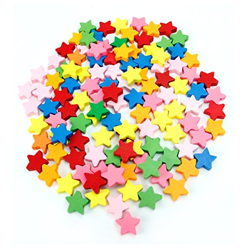 Hygloss Products Colorful Wooden Star Beads - 18mm Bright Colored Decorative Accessories for Art Projects, Beading, and Wood Crafts - 125 Pieces (Wooden Coloured Beads)