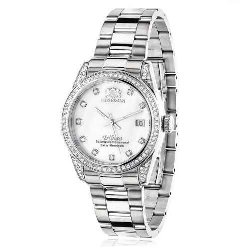 (LUXURMAN Womens Diamond Watch Stainless Steel White MOP Tribeca 1.5ct)