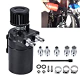 AUTOUTLET Universal Aluminum Oil Catch Can Tank Cylinder Catch Reservoir Car Can Breather Filter Kit Increases Horsepower and Prolongs Engine Life