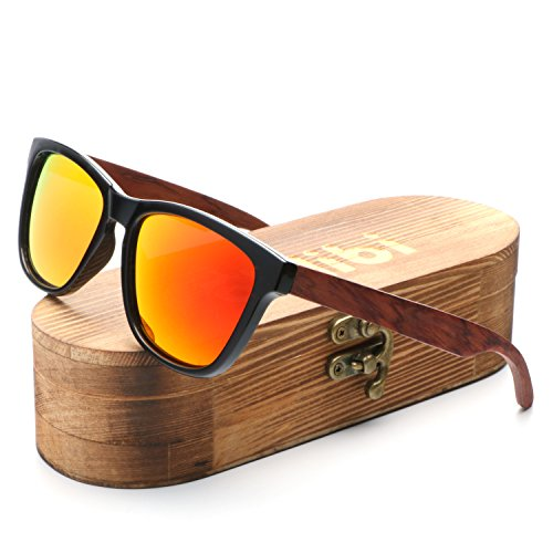 Ablibi Bamboo Wooden Golden Miorred Mens Womens Sunglasses Polarized Driving Eyewear in Wood Box (Rose Wood, Golden)