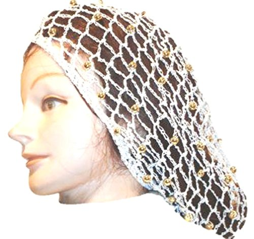 Snood Gold - Hand Crocheted Ivory Gimp Large Snood with Gold Pearl