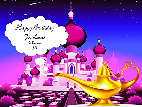 Custom Arabian Castle With Lamp Theme Personalized Birthday Poster for Kids, Arabian Nights Birthday Party Banner Wall Décor, Handmade Party Supply Poster Print Size 24x36, 48x24, 48x36 ()