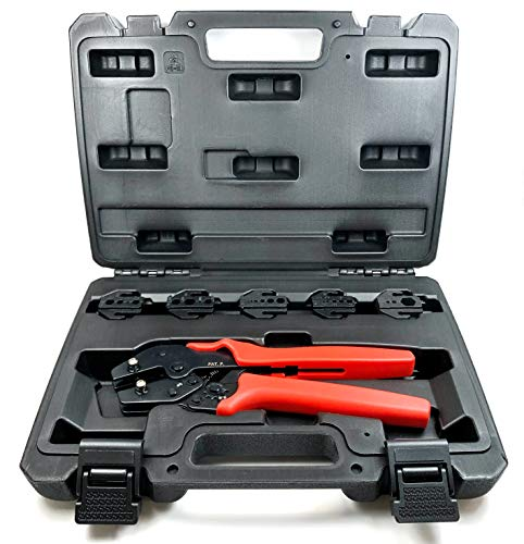 ConnectoRF Professional Quick Interchangeable Crimping Tool Kit for Coax RF connectors with 5 Die Sets