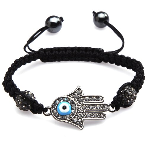 ILOVEDIY Handmade Macrame Gun Black Plated Evil Eye Bracelet for Men and Women