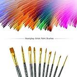 Paint Brush Set by heartybay, 10 pcs Nylon Hair